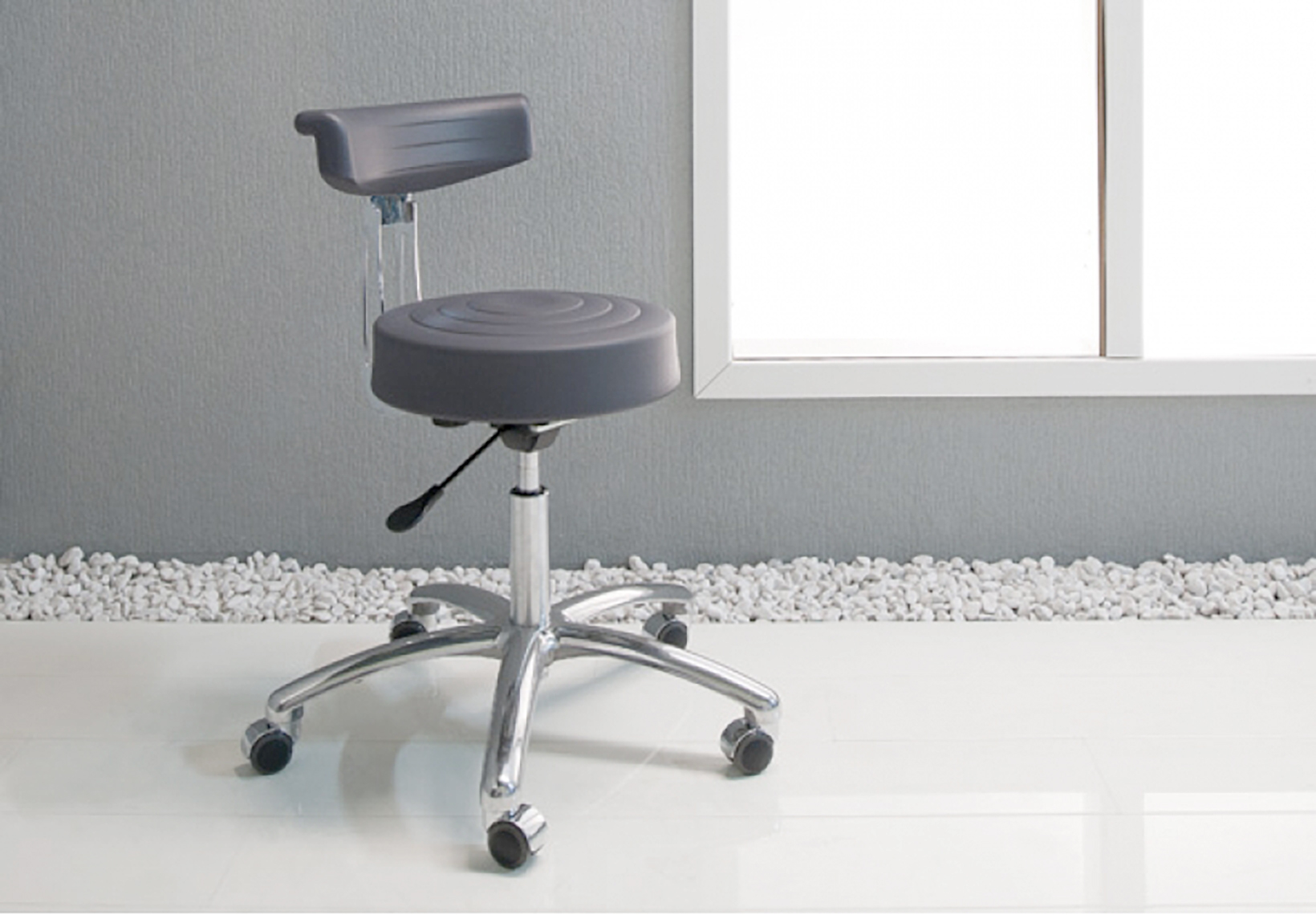 PU Stool with Curved Backrest